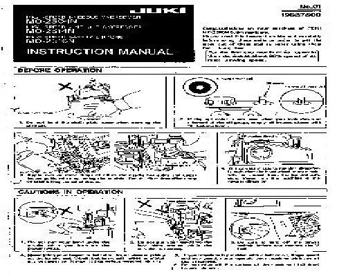 Juki Industrial Sewing Machine Manuals