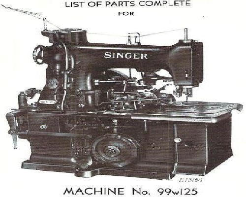Singer 99w125 Industrial Sewing Machine Parts Manual